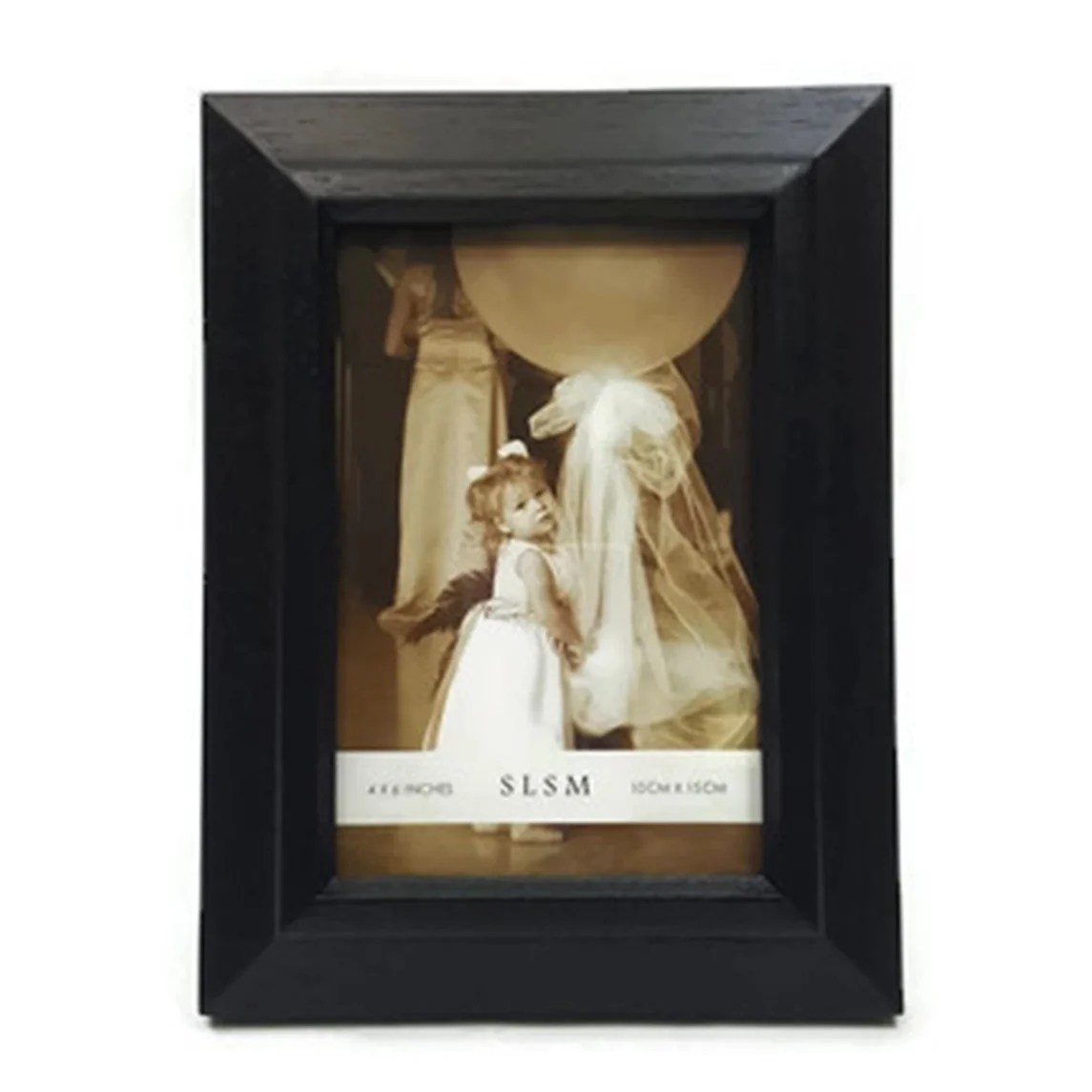 "Elegance 4x6"" Wood Photo Frame, Narrow Border, Black Color"