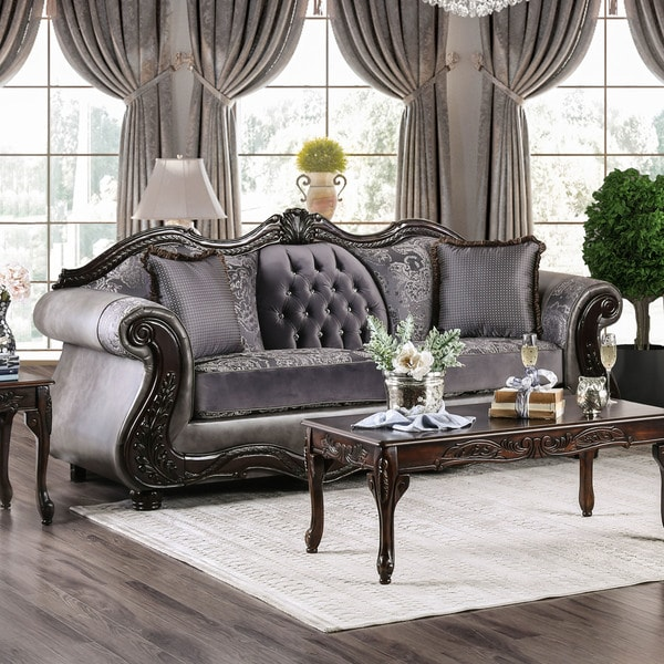 leather and chenille sofa 7 belgian classic slope arm upholstered shop furniture of america westport free