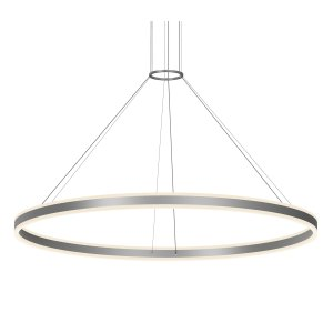 Sonneman Lighting Double Corona Satin Black 48-inch LED Ring Pendant, Frosted White Shade