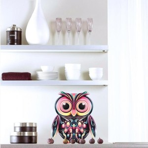 "Owl Full Color Wall Decal Sticker AN-8 FRST Size 46""x56"" Multicolor"