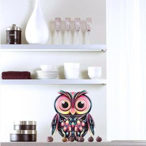 "Owl Full Color Wall Decal Sticker AN-8 FRST Size 52""x65"" Multicolor"