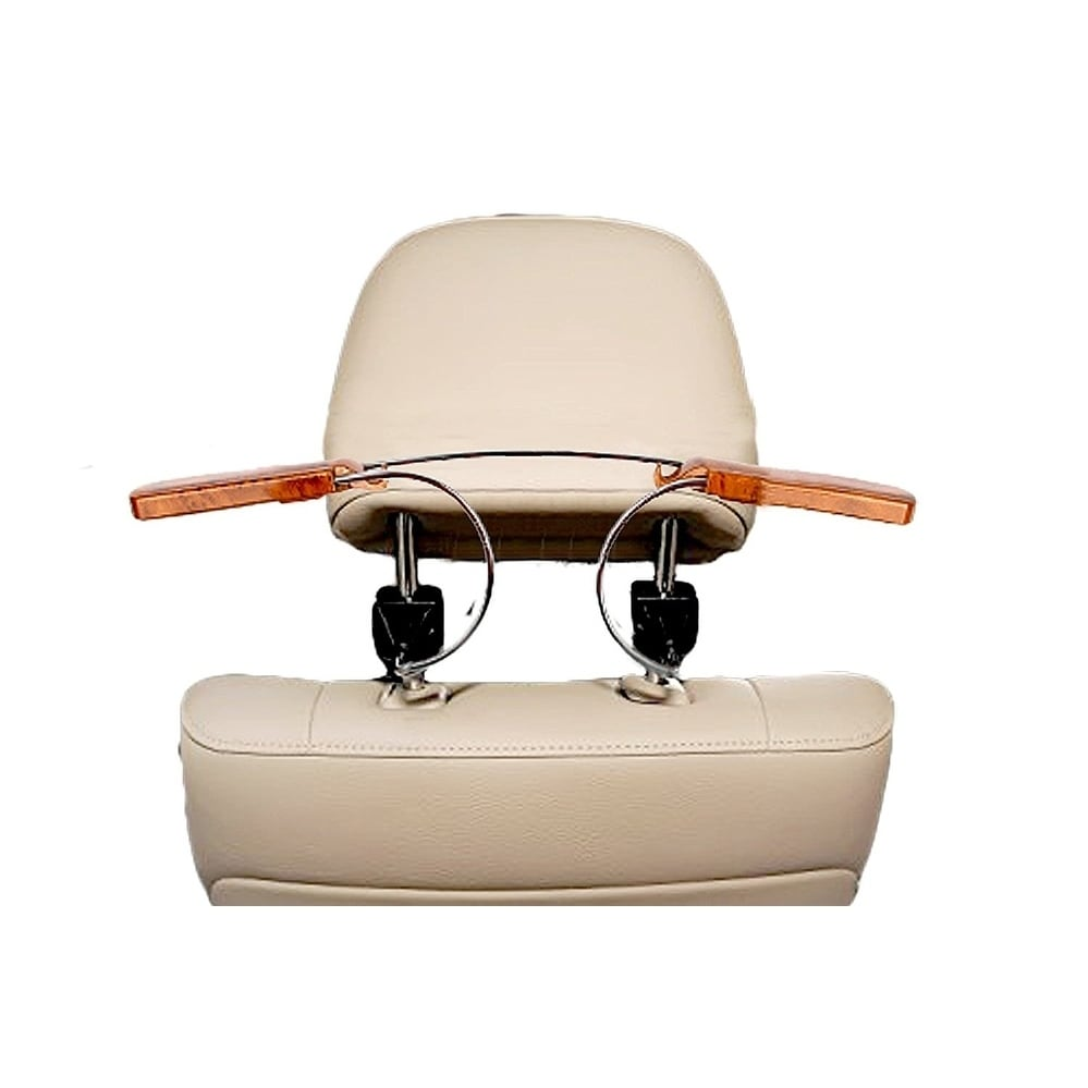 Zone Tech Car Auto Stainless Steel Seat Headrest Coat Hanger Jackets & Suits Holder with Wood Grain Finishing