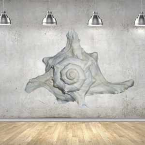 "White Seashell Full Color Wall Decal Sticker AN-137 FRST Size20""x31"""