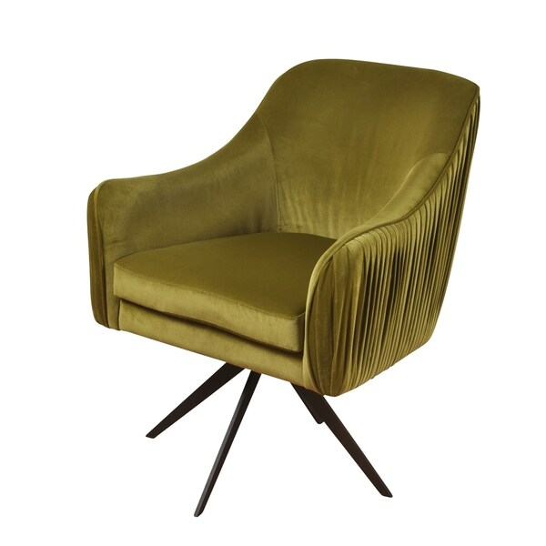 green velvet swivel chair pink office australia shop silk road pleated back avocado lounge dark bronze legs