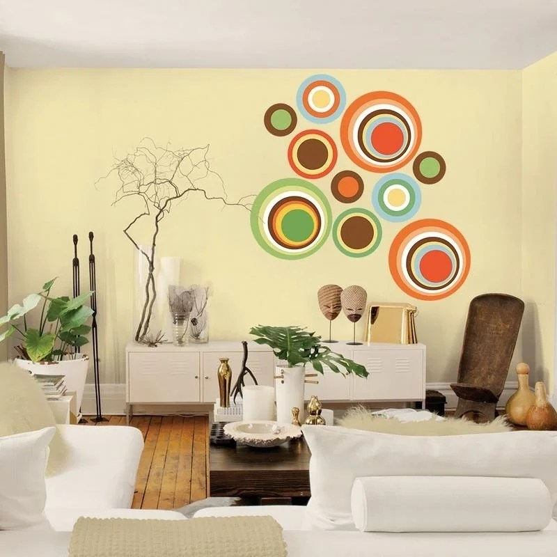 """Color Circles Full Color Wall Decal Sticker AN-358 FRST Size22""""x27"""""""