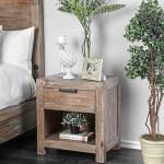 Furniture Of America Werr Rustic Oak Solid Wood 1 Drawer Nightstand