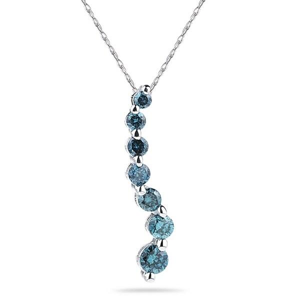 Shop 1/2 Carat TW Blue Diamond S Journey Pendant in 14K