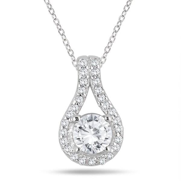 Shop 3/5 Carat TW Diamond Halo Pendant in 10K White Gold