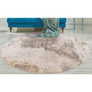 Routherford Beige Marbled Round Area Rug - 6'7""