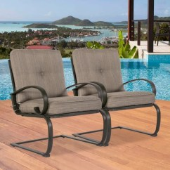Patio Club Chair Aluminum Webbing Shop 2 Chairs Outdoor Dining Wrought Iron Set Garden Bounce Seating