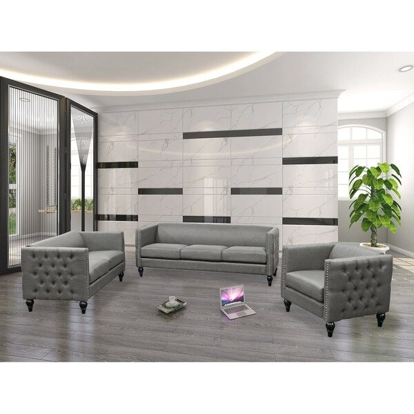 best master furniture 3 pieces tufted living room set