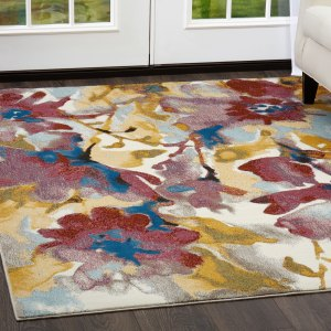 """Parlin Watercolored Flowers  Area Rug by Nicole Miller - Multi - 7'9""""x9'5"""""""