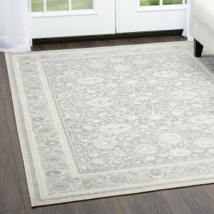 "Dark Gray & Beige Infinity Border Area Rug  by Nicole Miller - 26""x87"""