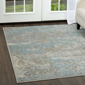 "Infinity Gray-Teal Marbled Area Rug by Nicole Miller - 30""x47"""
