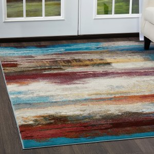 """Parlin Colorful Brushstrokes Area Rug by Nicole Miller - Multi - 7'9""""x9'5"""""""