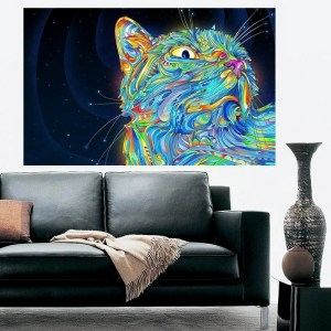 "Cat Modern Art Full Color Wall Decal Sticker AN-672 FRST Size 30""x47"""