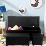 Storage Ottoman Faux Leather Sofa Bench Seat Chest Toy Box Foot Rest Stool Living Room Bedroom Furniture Black Overstock 20851329