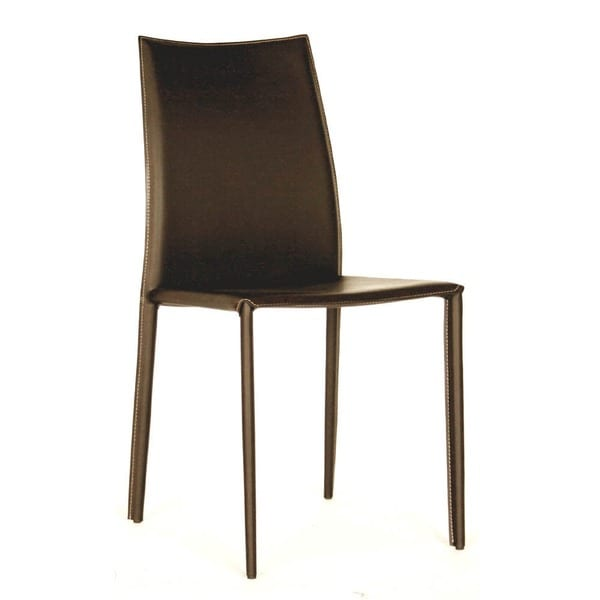 leather dining chairs modern teardrop swing chair shop brown faux 2 piece set by baxton studio
