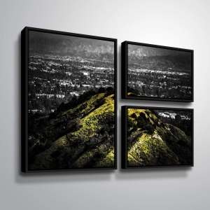 ArtWall Richard James 'Mulholland Hill' 3 Piece Floater Framed Canvas Flag Set