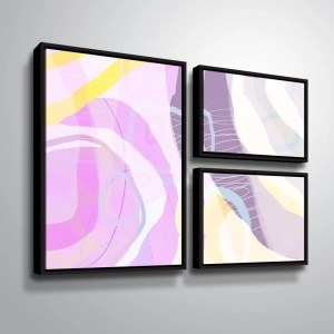 ArtWall Delores Orridge Naskrent 'Grape Crush' 3 Piece Floater Framed Canvas Flag Set