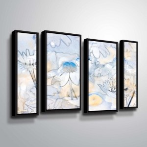 ArtWall Julie Mann Sperry 'Painting the daisies #2' 4 Piece Floater Framed Canvas Staggered Set
