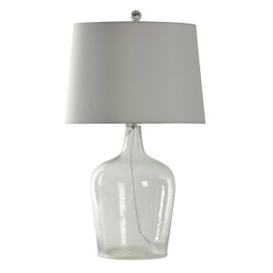 Incognito Seeded Clear Glass Table Lamp - White Hardback Fabric Shade