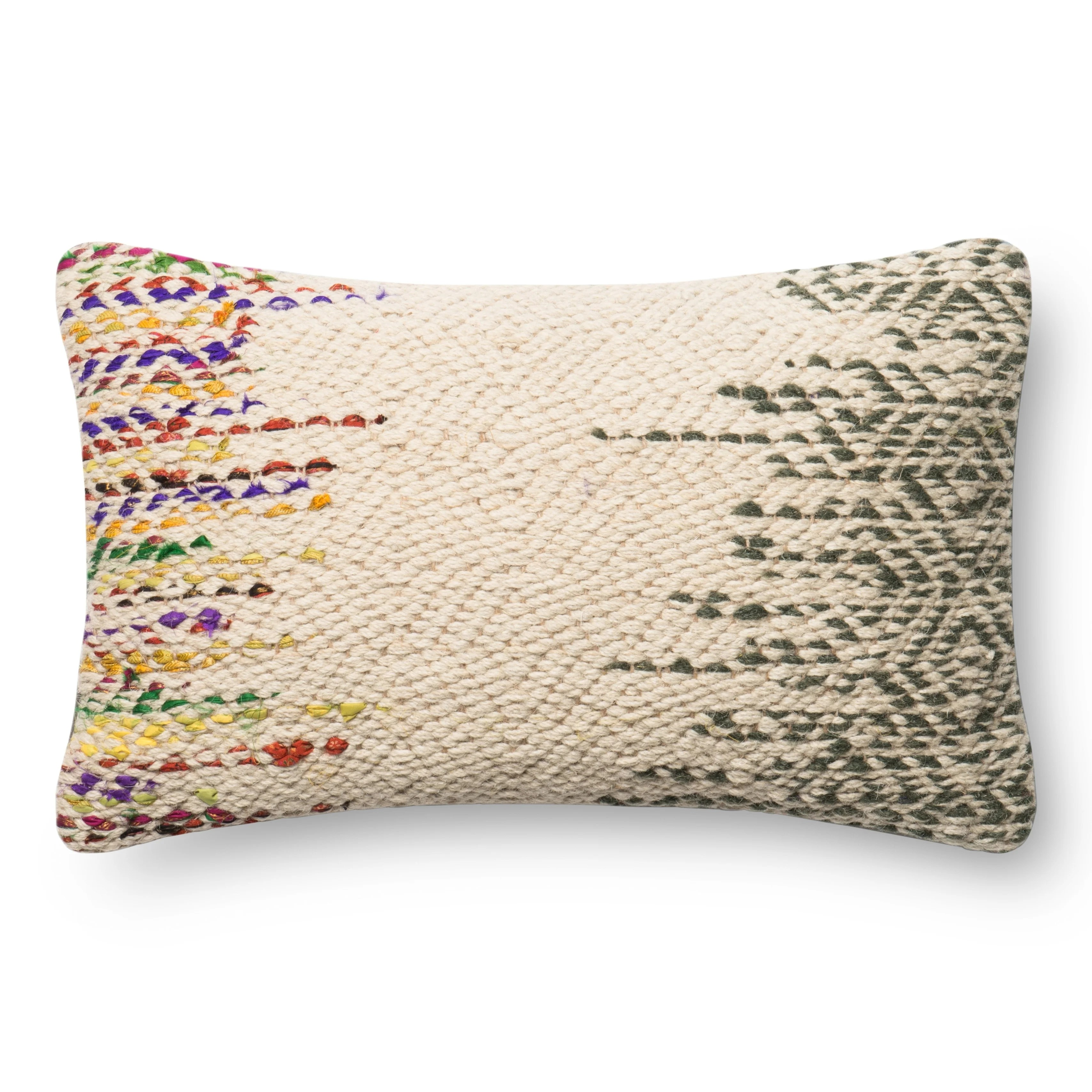 Woven Wool/ Cotton Ivory/ Multi 13 x 21 Throw Pillow or Pillow Cover
