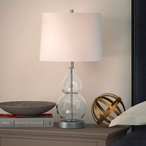 Katrina Petite Double Gourd Table Lamp in Clear Glass