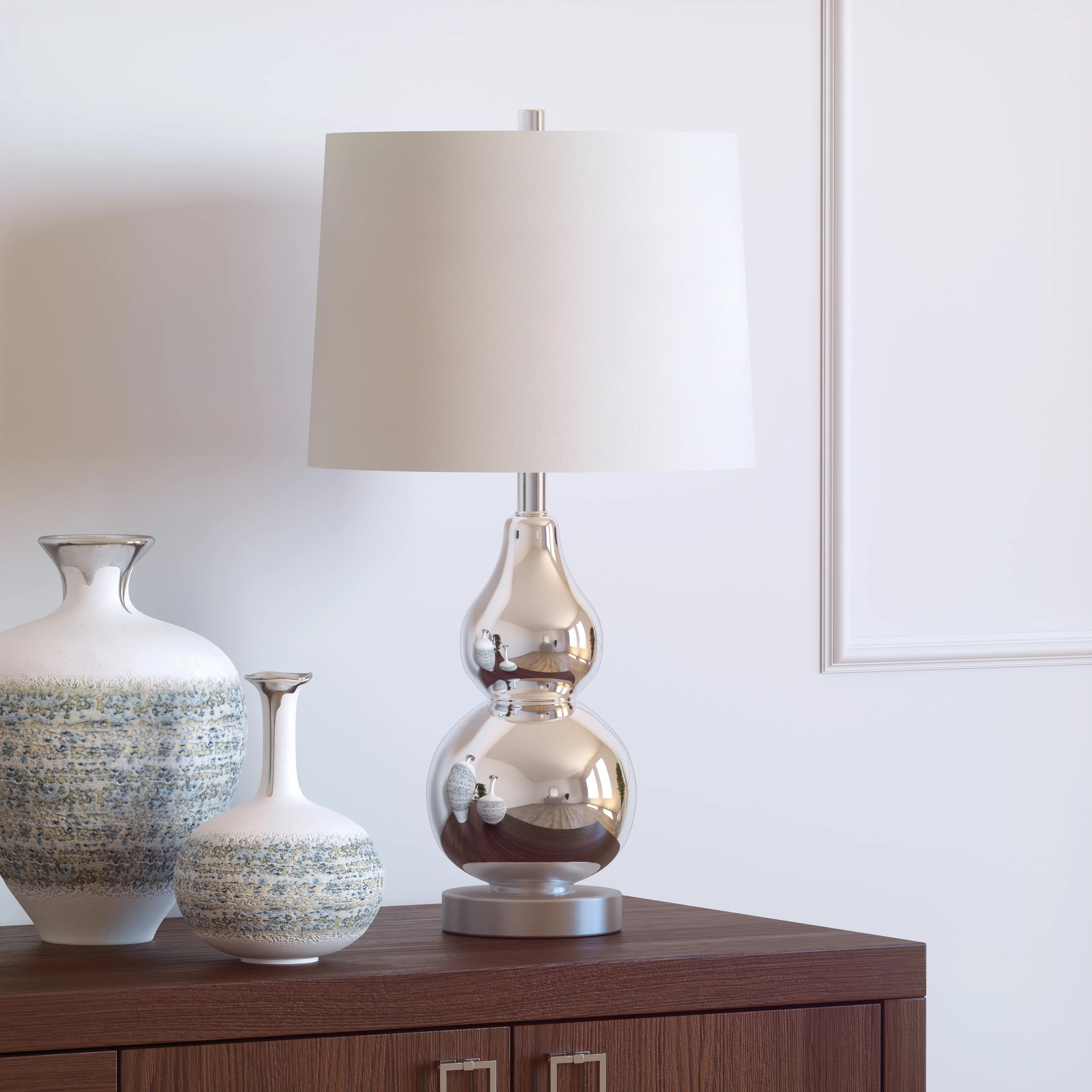 Katrina Petite Double Gourd Table Lamp in Nickel Plated Glass