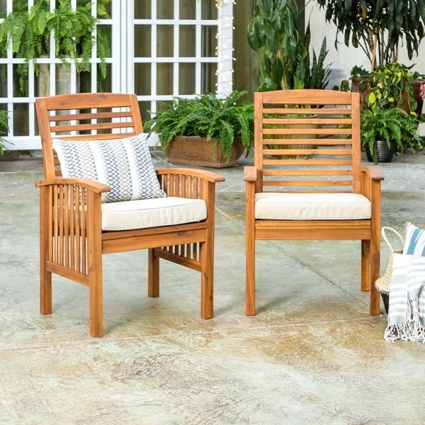 wicker patio chair set of 2 restaurant chairs cheap shop havenside home surfside acacia wood