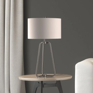 Bryan Table Lamp in Silver Nickel Finish with Linen Shade