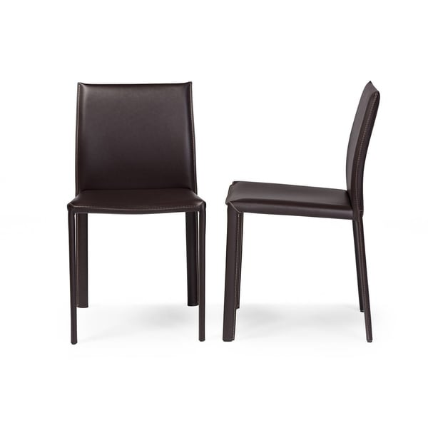 leather dining chairs modern ergonomic chair taiwan shop brown faux 2 piece set by baxton