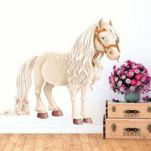 """White Horse Kids Full Color Wall Decal Sticker K-477 FRST Size52""""x52"""""""