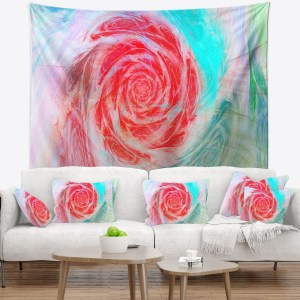 Designart 'Mysterious Abstract Rose' Floral Wall Tapestry