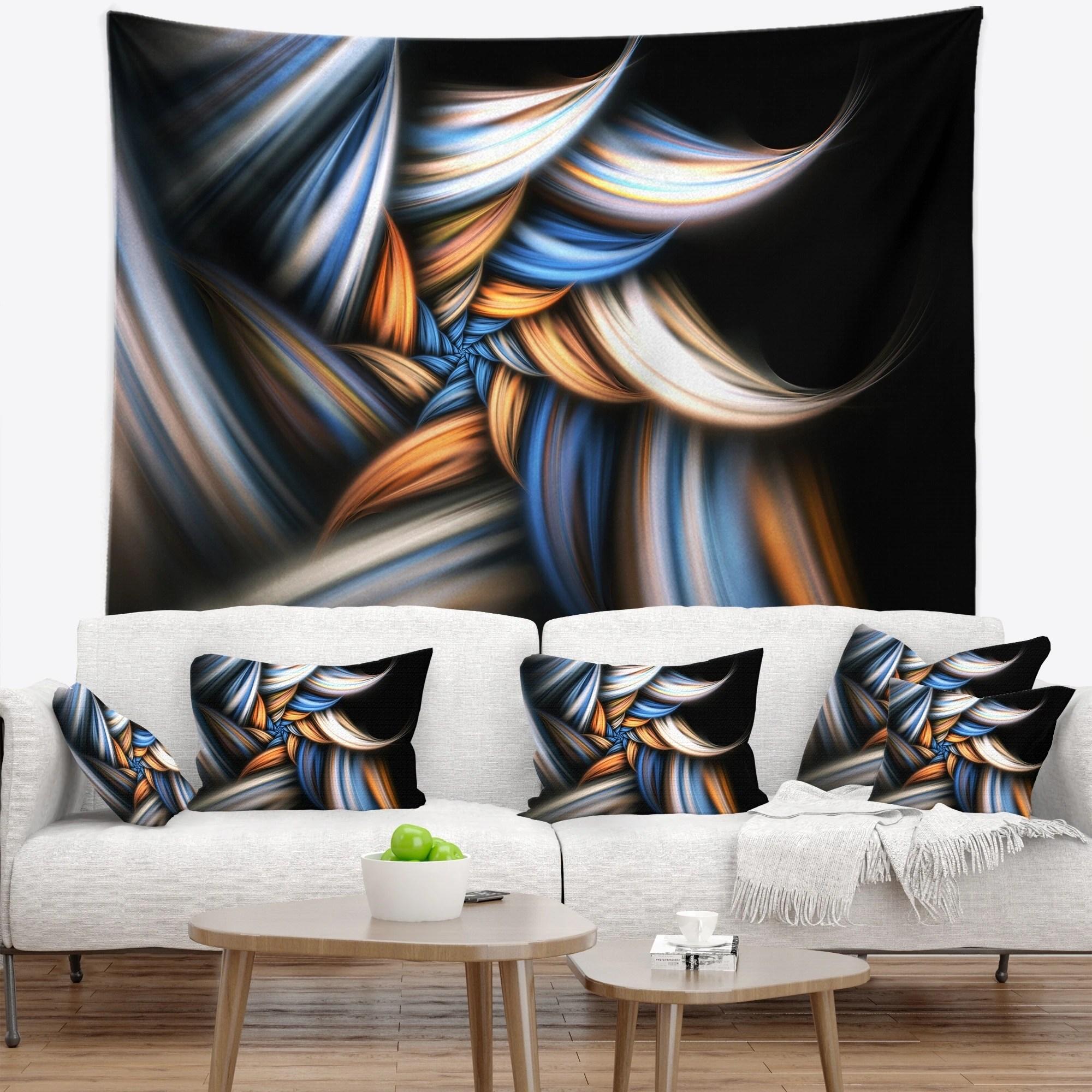 Designart 'Multi Color Fractal Floral Pattern in Black' Floral Wall Tapestry