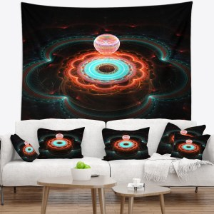 Designart 'Balloon over Fractal Colored Area' Floral Wall Tapestry