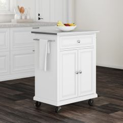Portable Kitchen Cart Open Cabinets Shop Copper Grove Kawartha White Wood Island With Stainless Steel Top