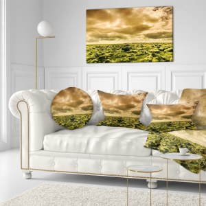 Designart 'Beautiful View of Sky and Moss' Landscape Printed Throw Pillow