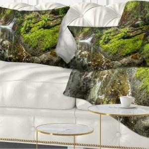 Designart 'Creek Moss and Rocks Panorama' Landscape Printed Throw Pillow