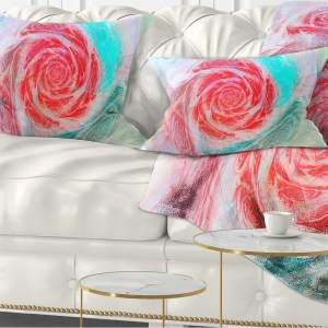 Designart 'Mysterious Abstract Rose' Floral Throw Pillow