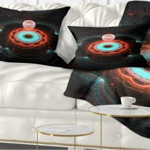 Designart 'Balloon over Fractal Colored Area' Floral Throw Pillow