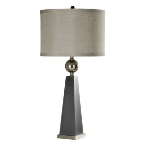 Hargis Gray and Chrome Accent Table Lamp - Taupe Hardback Fabric Shade