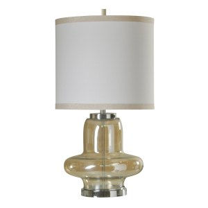 Elegance Accent Clear Glass and Chrome Table Lamp - White Hardback Fabric Shade