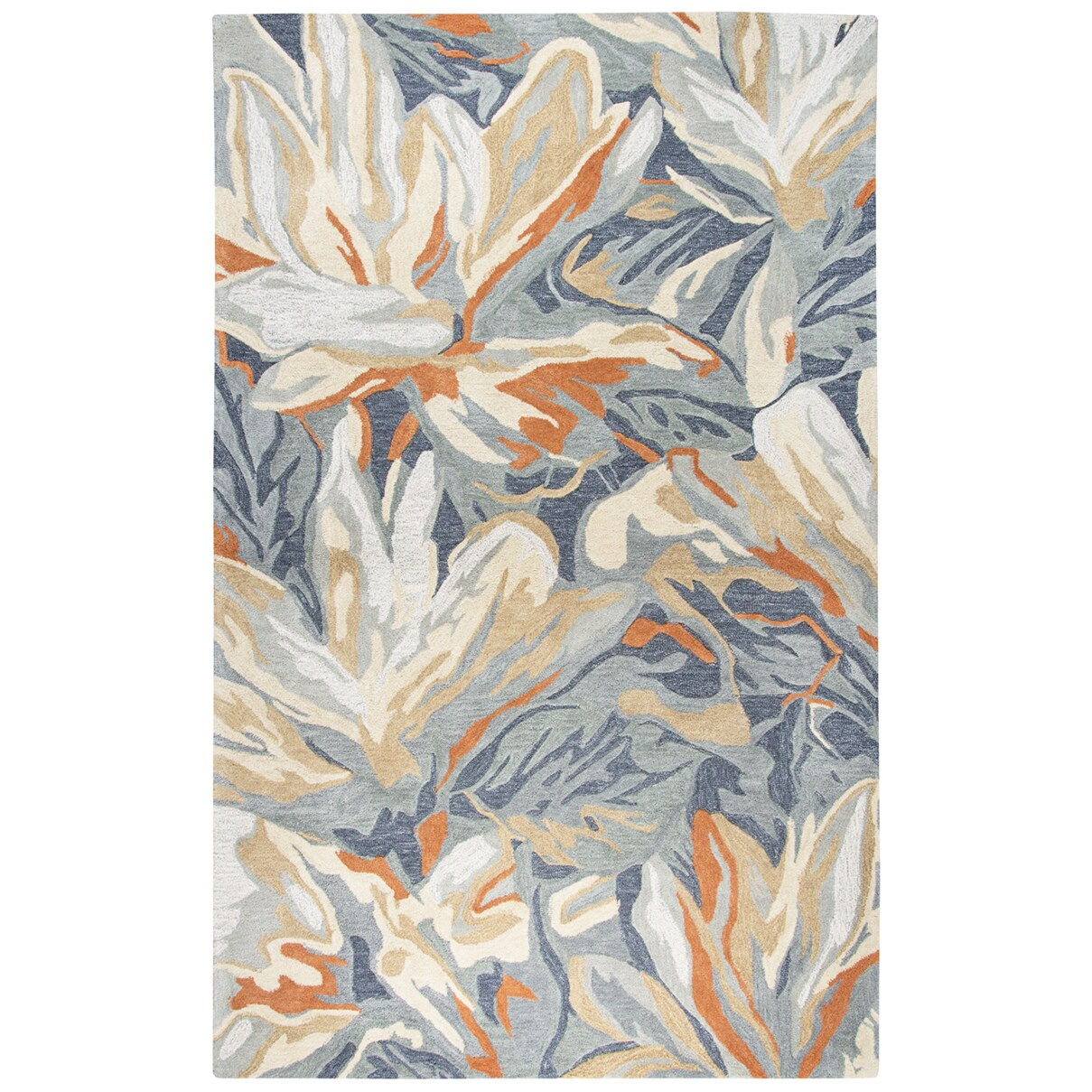 Rizzy Home Mod Blue Abstract Floral Handmade Wool-blend Area Rug (5' X 8')