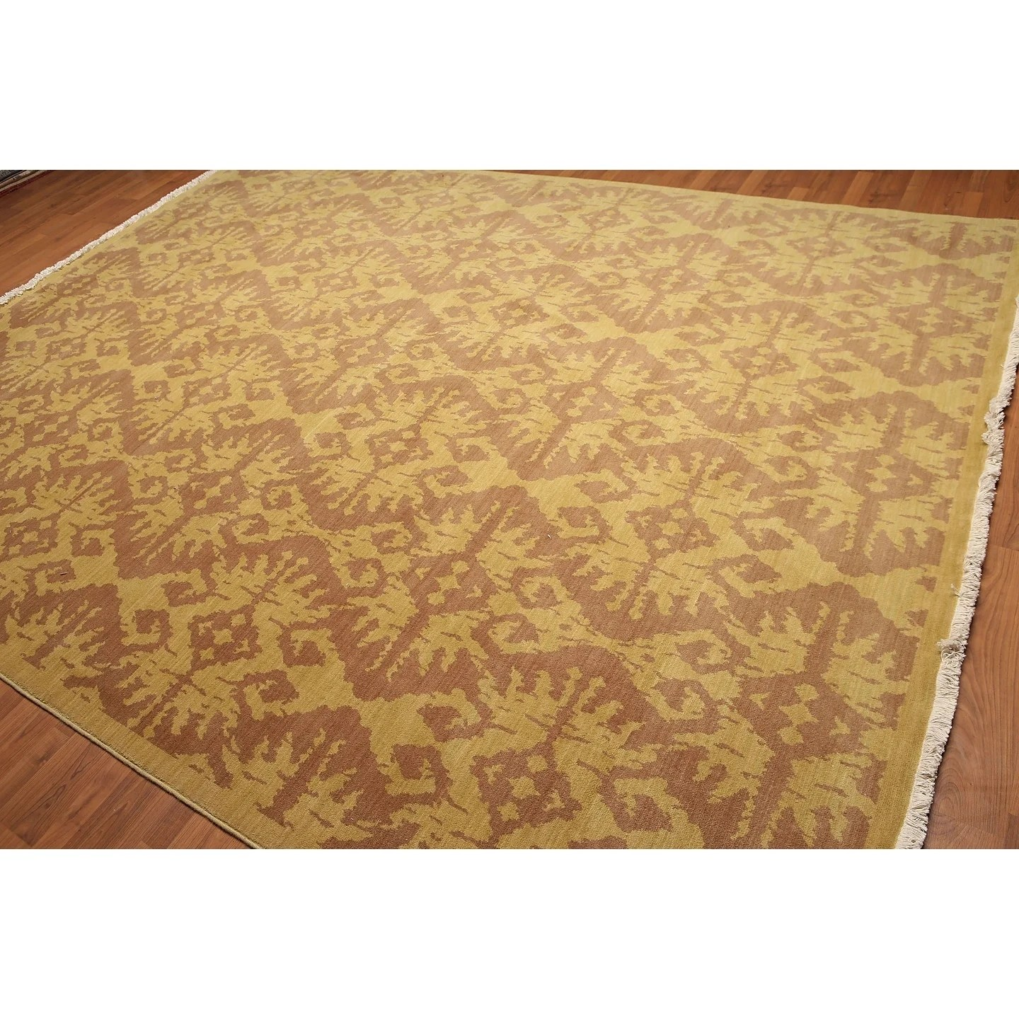 Bold Damask Full Pile Oriental Hand Knotted Area Rug - Multi - 9'x12'