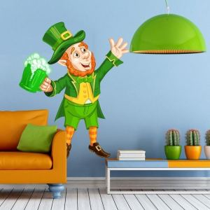 """Leprechaun Beer Pub Full Color Wall Decal Sticker K-851 FRST Size 52""""x65"""""""