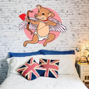 "Dog Cupid Love Full Color Wall Decal Sticker K-887 FRST Size 40""x40"""