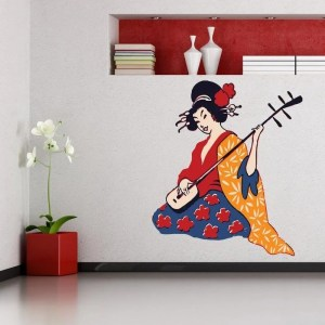 "Geisha Music Full Color Wall Decal Sticker K-888 FRST Size 52""x52"""