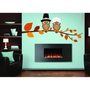 """Birds Owls Tree Fall Full Color Wall Decal Sticker K-934 FRST Size 20""""x40"""""""