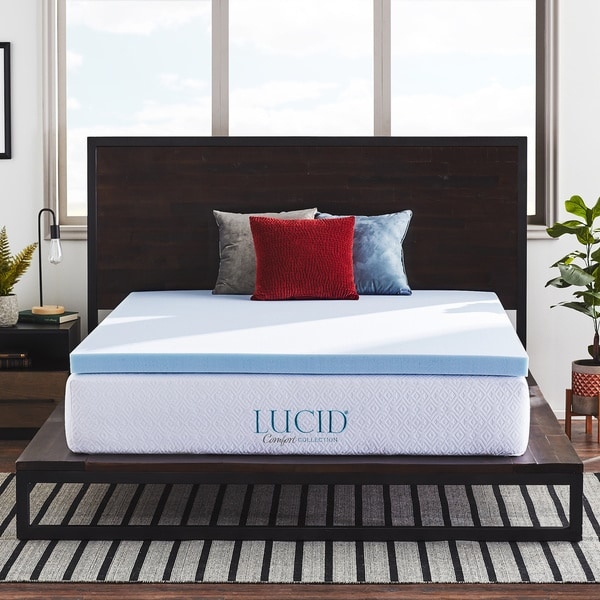 lucid comfort collection 3 inch surecool gel infused memory foam mattress topper